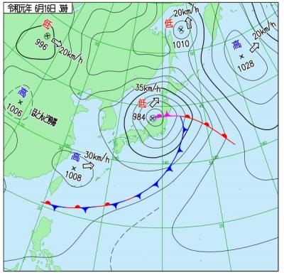 2019年6月16日 午前3の天気図