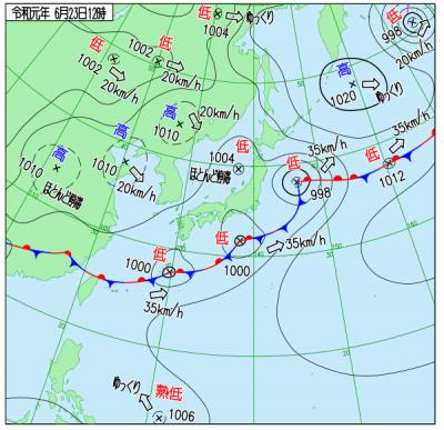 2019年6月23日 午後12時の天気図