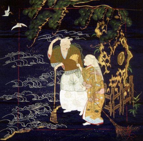 19世紀の帛紗に描かれた尉と姥