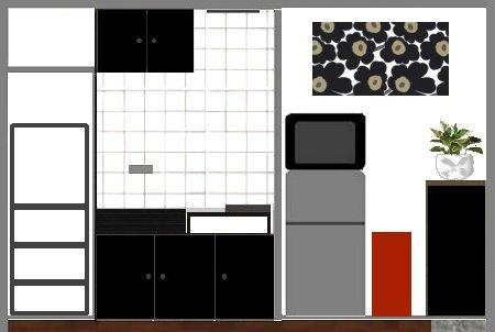 キッチン改造 白黒いろいろ