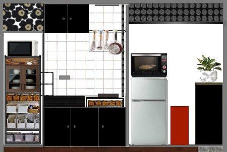 キッチン改造 白黒 メタルラック収納
