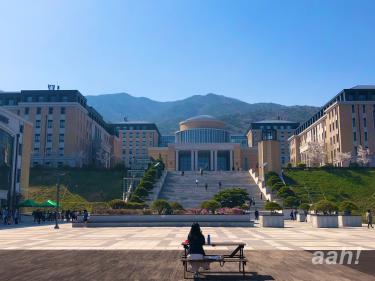 釜山外国語大学。春のキャンパスもまた素敵。