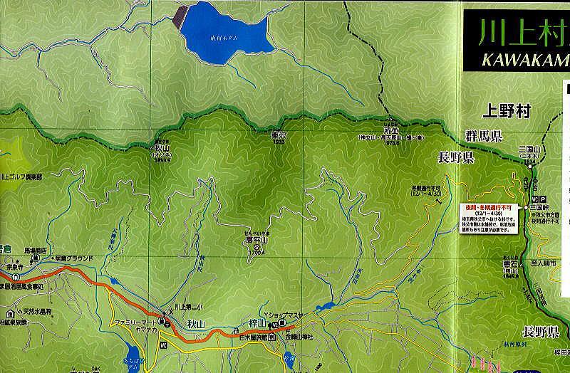 川上村の地図に見る梓山地区