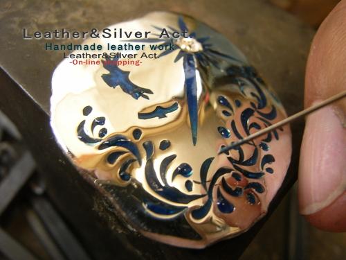 イーグル シルバーコンチョ 手彫り