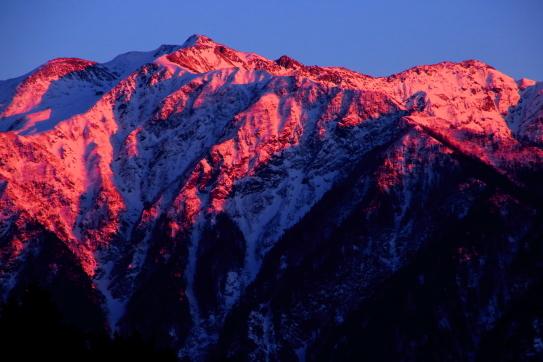 夕陽に染まる仙丈ヶ岳