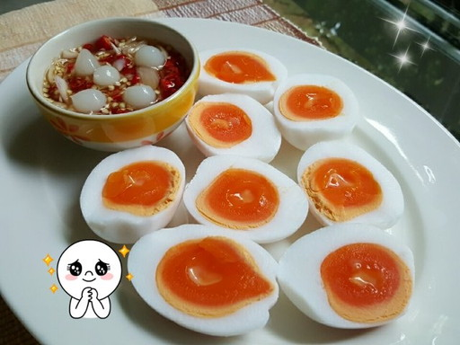 boiked egg with chili fish sauce