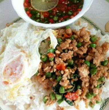 rice topped with stir-fried minced pork and basil leaf plus with fried egg