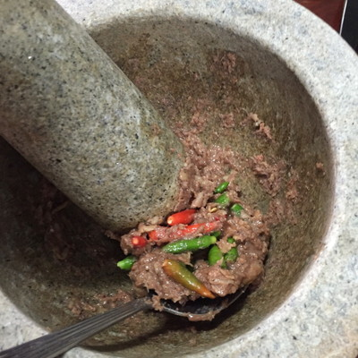 3 put small chili in mortar mix everything