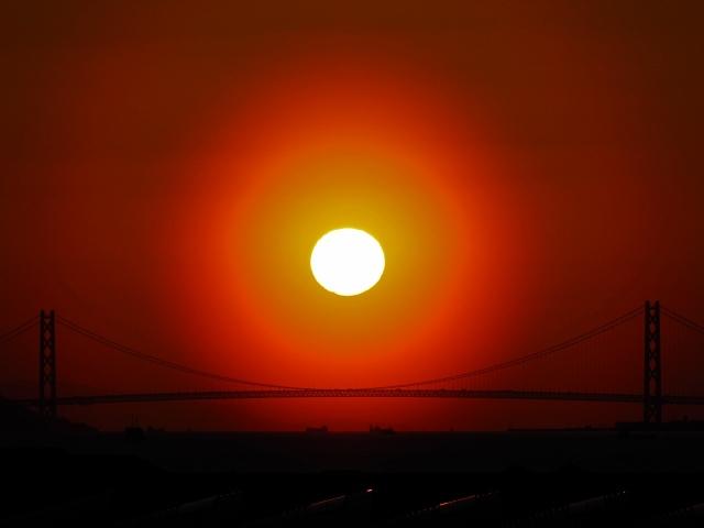 190308明石海峡大橋と夕日1