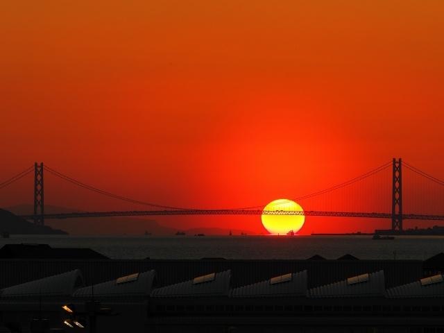 190308明石海峡大橋と夕日3