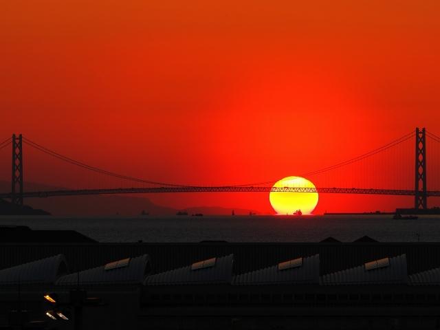 190308明石海峡大橋と夕日4