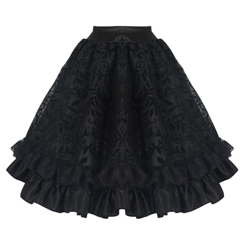 Black Gothic Midi Steampunk Skirts Lace Corset Tutu Dress11