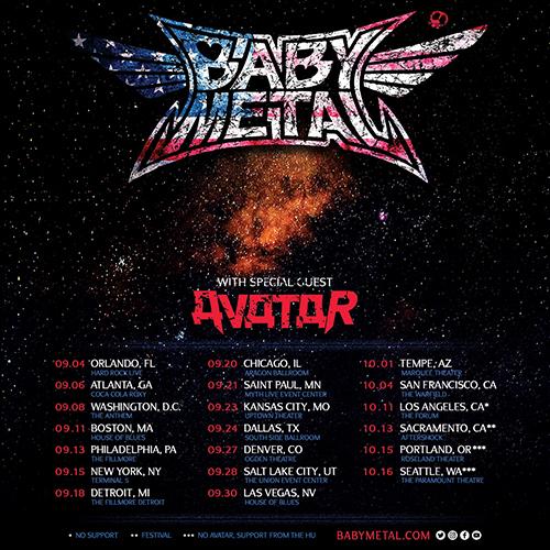 BABYMETALの【US TOUR 2019】ライヴスケジュールと開催場所(地図)