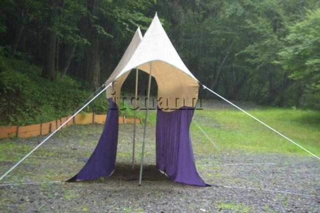 何がなんでもキャンプだし 久保キャンプ場 オガワ フィールドタープオクタ ウォーラス ビンテージ テント タープ ポロンT 撥水 シーム処理