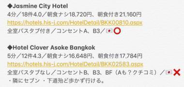 190622バンコクホテル一覧