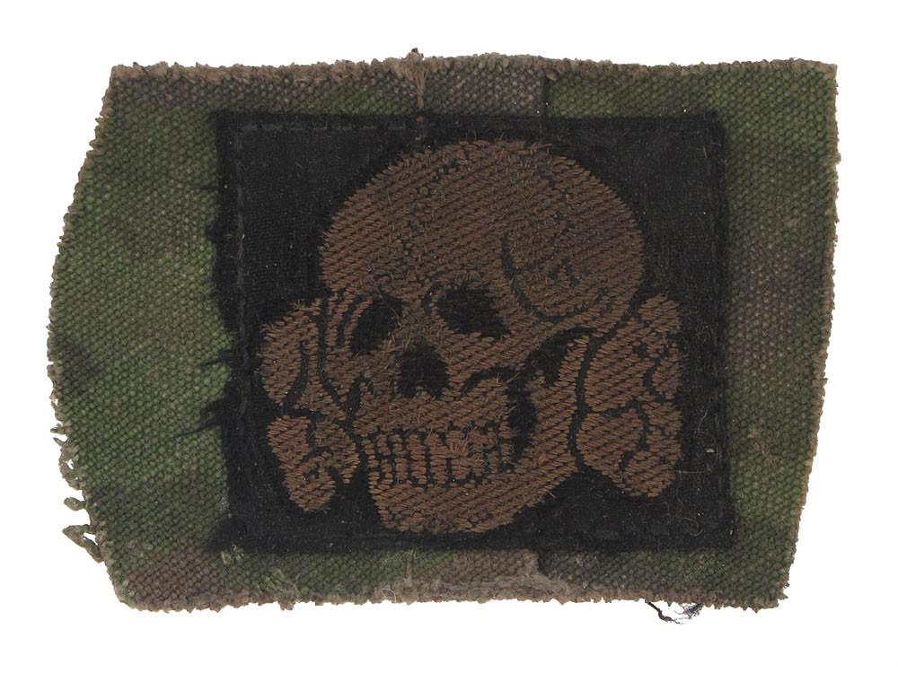 武装SS・迷彩規格帽/生地付き帽章