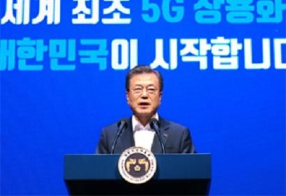 韓国ムン大統領「5Gで韓国が世界標準に」