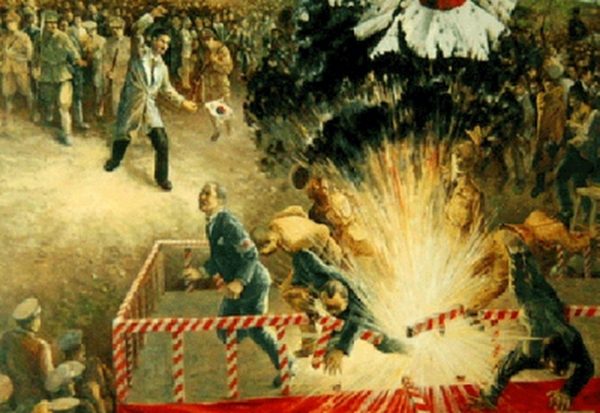 天長節の祝賀式典に、アメリカ人宣教師が運転する車で入り込んだ尹奉吉は、要人群の席に向かって手榴弾を投擲し、多数を死傷させるテロを起こした!
