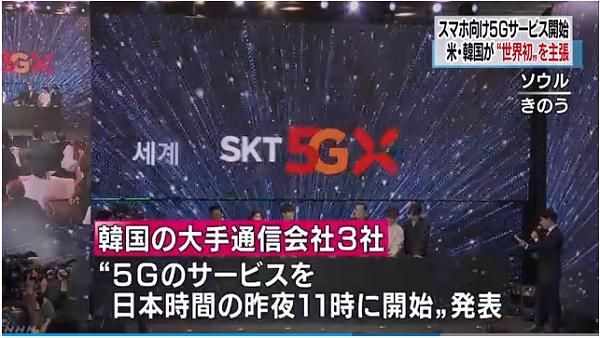 韓国ムン大統領「5Gで韓国が世界標準に」NHK「韓国の大手通信会社3社は、次世代の通信規格=5Gに対応したスマートフォン向けのサービスを、日本時間の3日午後11時に開始したと発表しました。