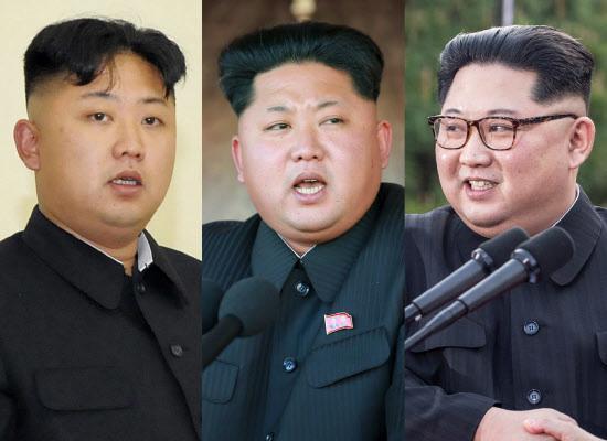 3枚の写真のうち、中央は朝鮮中央通信が15年10月に配信した。このころまでに正恩氏の肥満が急激に進んでいった。