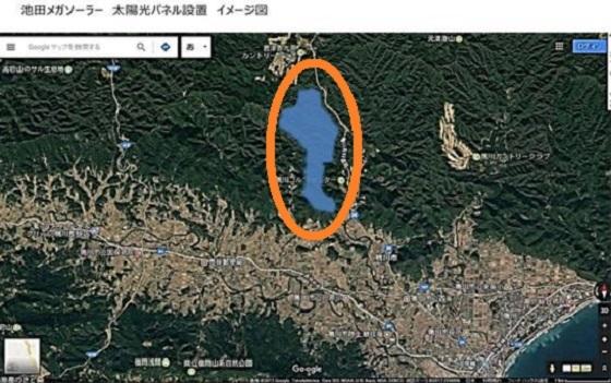 千葉県鴨川メガソーラー 水色の地域が設置予定場所 千葉県鴨川市で計画されている250ヘクタールの大規模太陽光発電所(メガソーラー)の建設計画