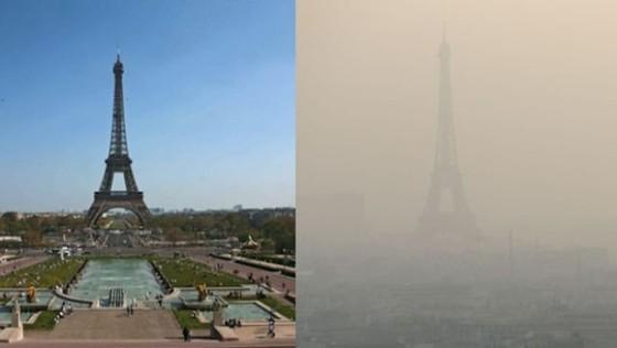 かすむエッフェル塔…パリで大気汚染が深刻化