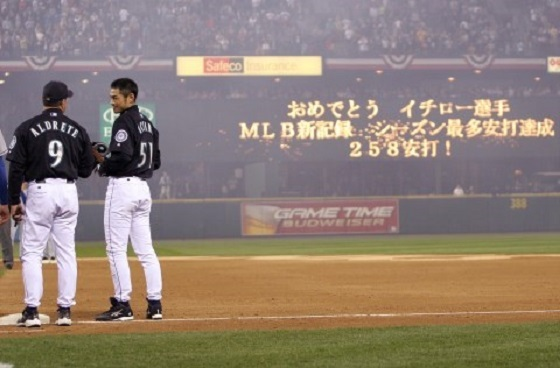 2004年10月1日、年間258安打のシーズン最多記録を塗り替えたイチロー
