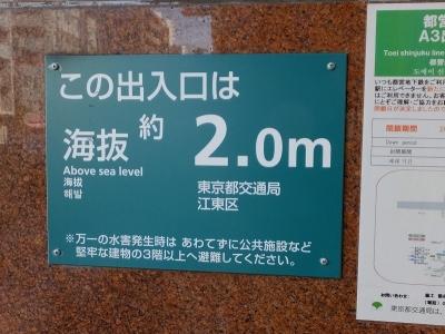 森下駅の標高表示
