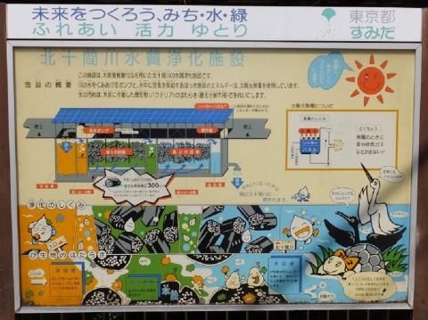 北十間川・水質浄化施設案内板