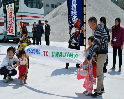 横断幕による歓迎