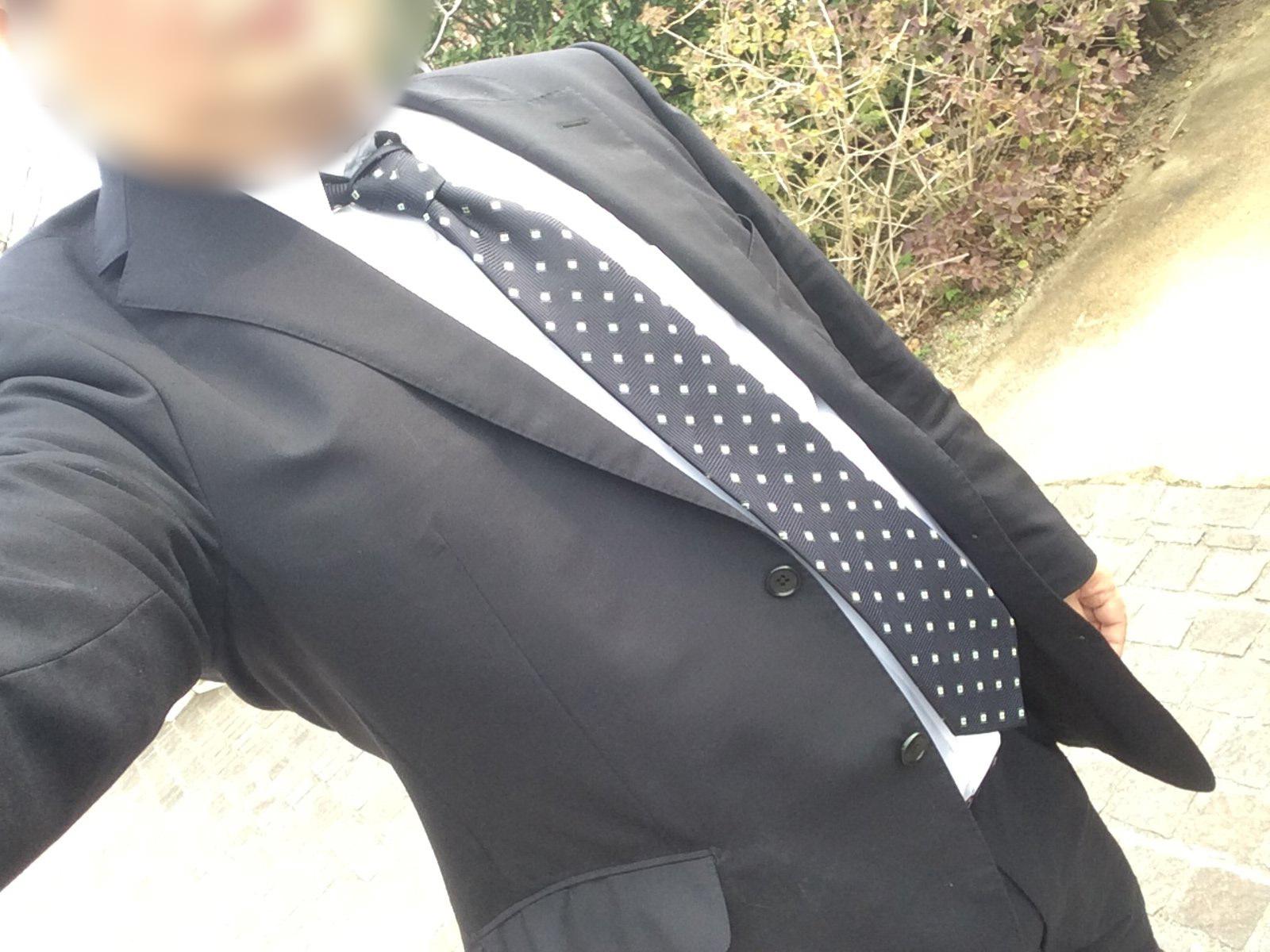 20190323 自前スーツに地味なネクタイ(ボカシ)
