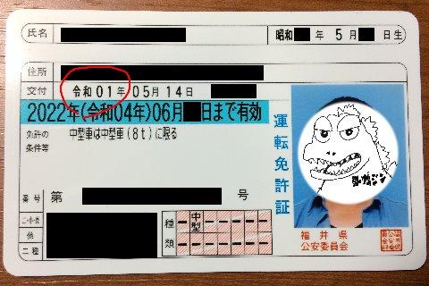 運転免許証(令和元年更新)