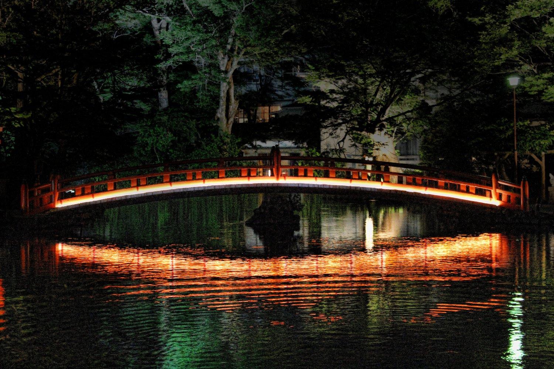 湧玉池の橋