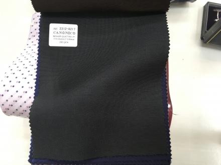 カノニコのダークグリーンのオーダースーツ生地モヘア混紡