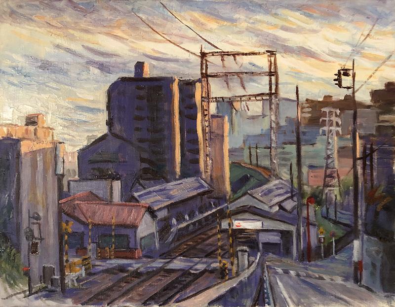 西日の風景(石川台駅)
