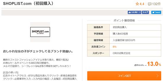 お財布.com SHOPLIST初回購入案件