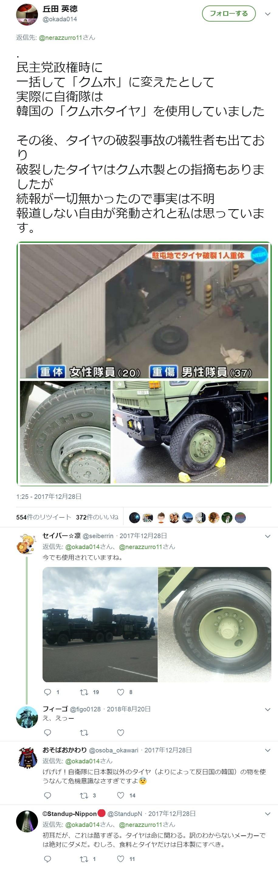 女性自衛官を殺した朝鮮産の爆発するタイヤ2