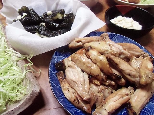 鶏の煮物と山芋磯辺