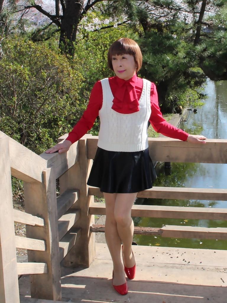赤ブラウス白ベスト黒ミニフレアA(1)