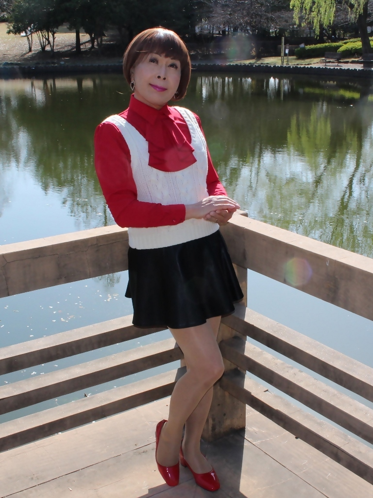 赤ブラウス白ベスト黒ミニフレアA(2)