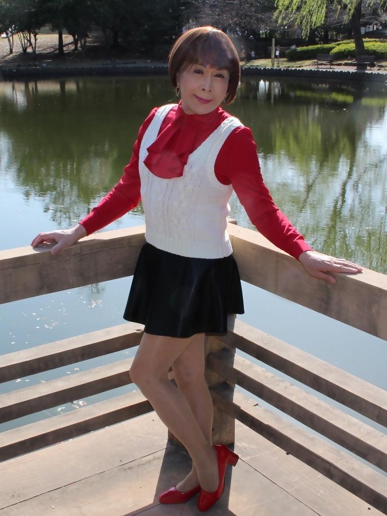 赤ブラウス白ベスト黒ミニフレアA(3)