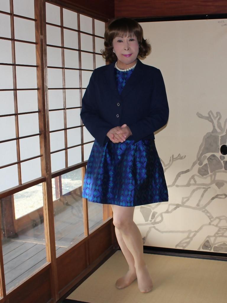 紺ジャガードワンピ紺ジャケットD(3)