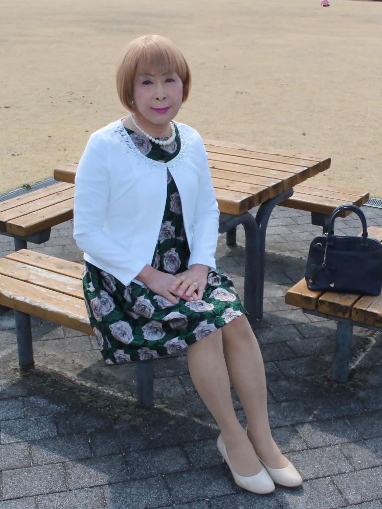 緑ジャガードワンピ白ジャケットC(1)