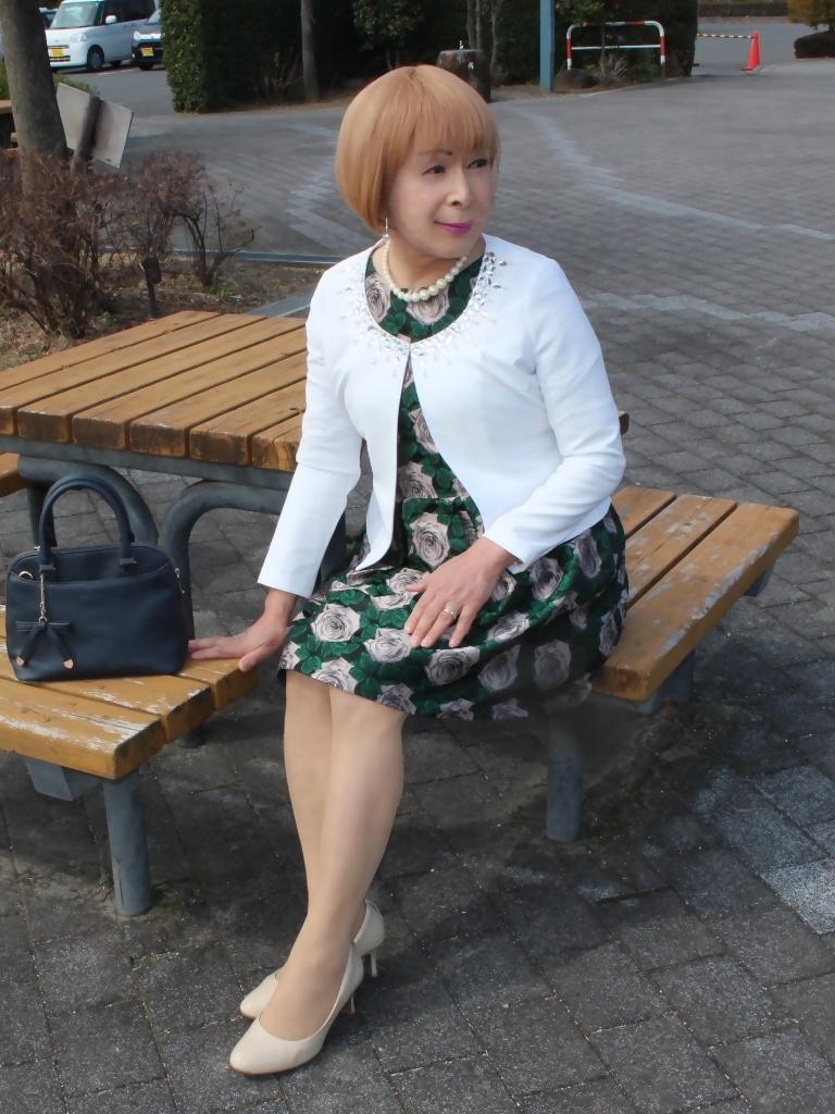緑ジャガードワンピ白ジャケットC(5)