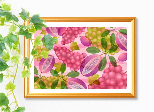 風水果実アートアケビ&葡萄イメージ
