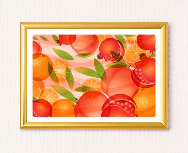 風水果実アート 三柑の実(橙だいだい)A4サイズ
