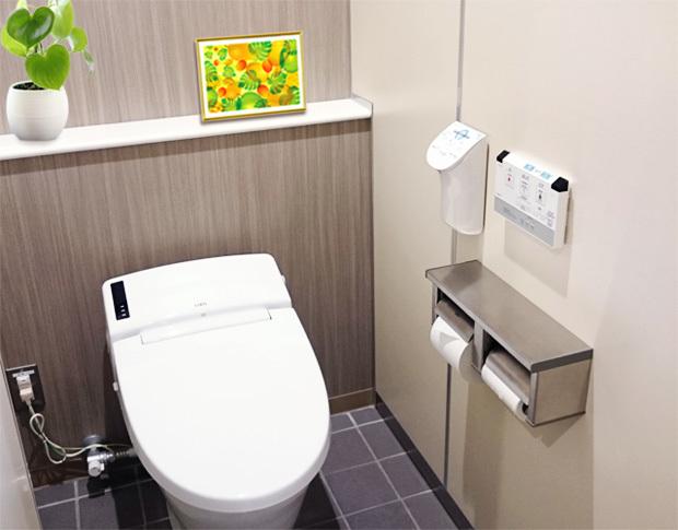 トイレに風水果実アートプレミアムマンゴー&モンステラ飾ったイメージ