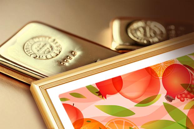 風水果実アート 三柑の実 橙ゴールド額縁イメージ