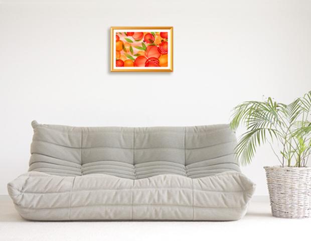 風水果実アート A4サイズ 三柑の実(橙ダイダイ)をお部屋に飾ったイメージ