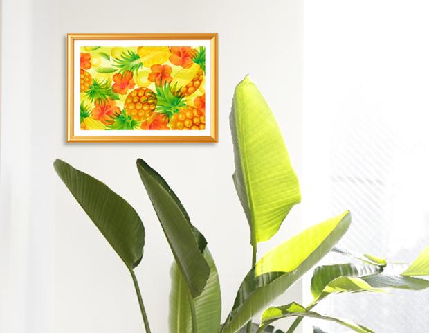 風水アートを観葉植物のある部屋に飾ったイメージ